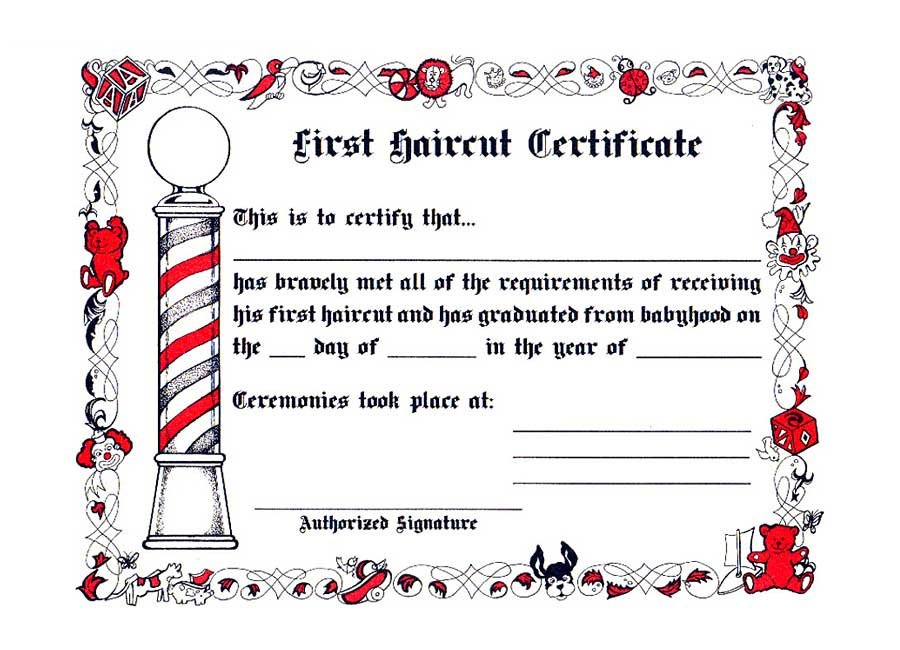 1st Cut Certificate (1 Dozen) - Barber supplies, Barber Depot
