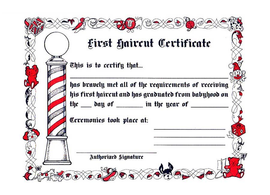 1st haircut certificates haircuts models ideas for My first haircut certificate template