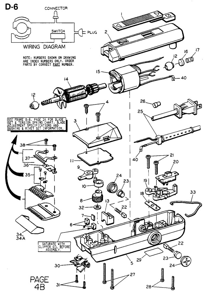 oster turbo 111 clipper diagrams