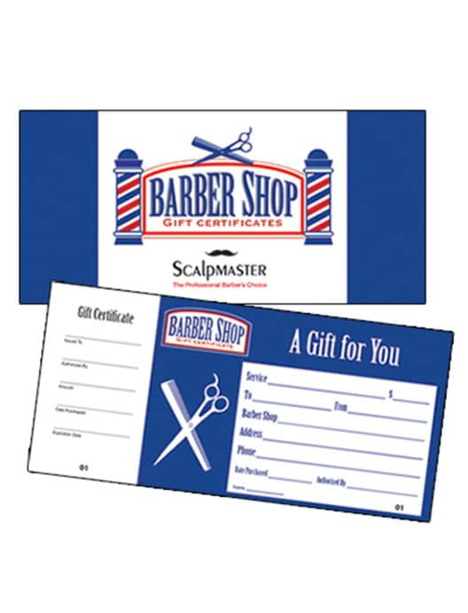 Scalpmaster barber shop gift certificate 50 count for Shopping certificate template