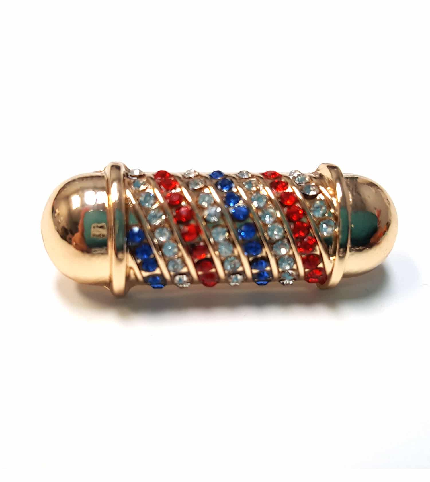 Diamond Barber Pole Lapel Pin (Gold)