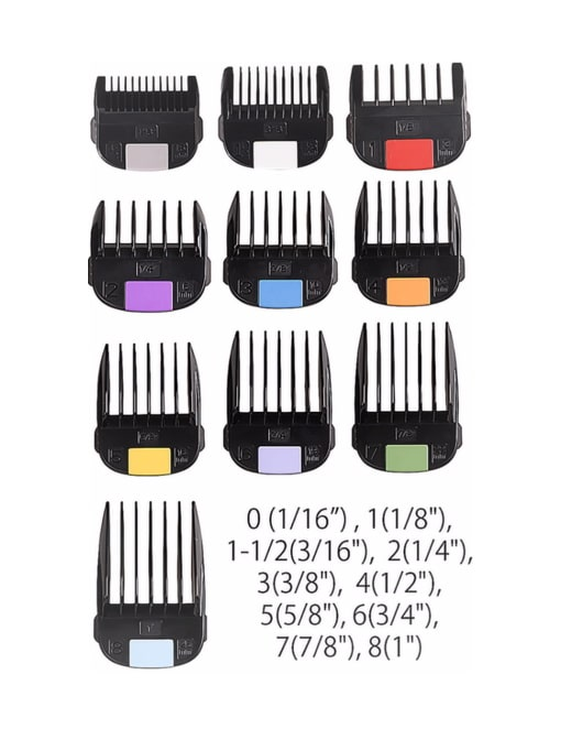 Pictures Of The Different Clipper Lengths Jrl Clipper Guards Barber Depot